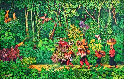 Recorriendo Camino al Mercado, painting by guatemalan maya artists mario gonzalez chavajay
