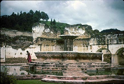 merced fountain, antigua, guatemala, 1975