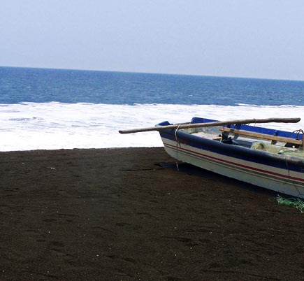 black sand beach at monterrico, guatemala