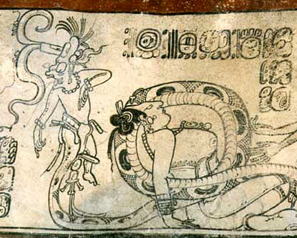 God K (K'awiil), shown with his serpent leg entertwining a naked woman. Ceramic, Classic period.