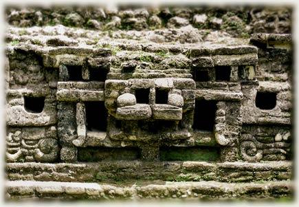 jaguar motif at lamanai maya site, belize
