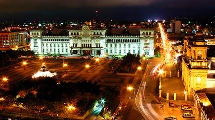 downtown guatemala city at night