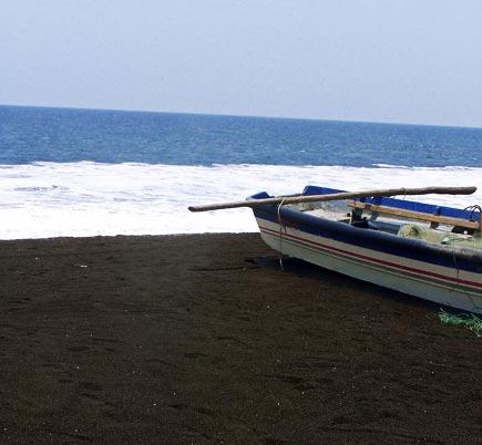 black sand beach at monterrico, guatemala