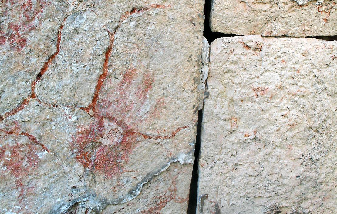 Ancient handprint at the ruins of Kabah